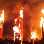 "Solemn fire offering ""taimatsu akashi fire torch festival"""